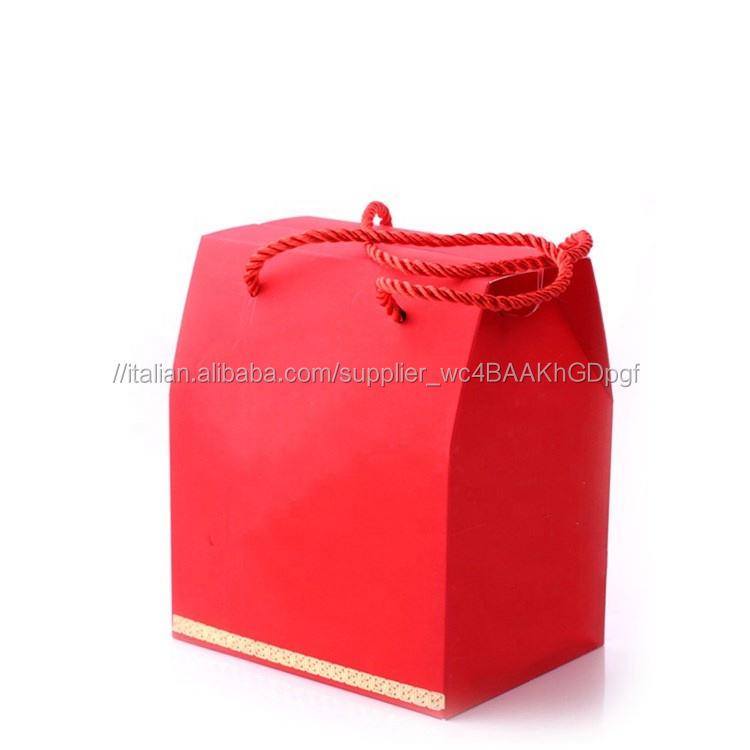 Personalizzato Contenitore di Regalo di Favore di Cerimonia Nuziale di Caramella Imballaggi di Carta con La Maniglia