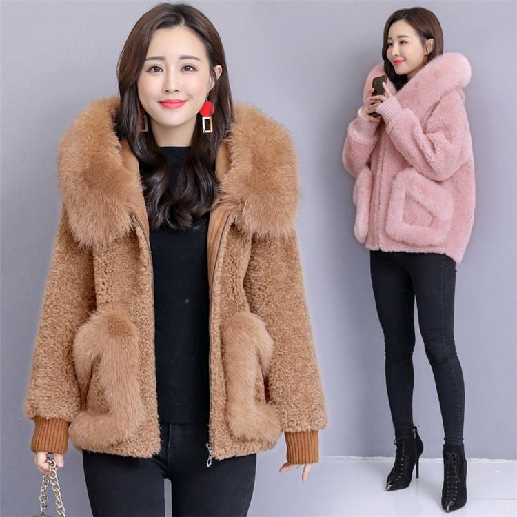 YQ126 migliore qualità di trasporto libero donne pecora naturale cappotti di pelliccia con pelliccia di Volpe collare