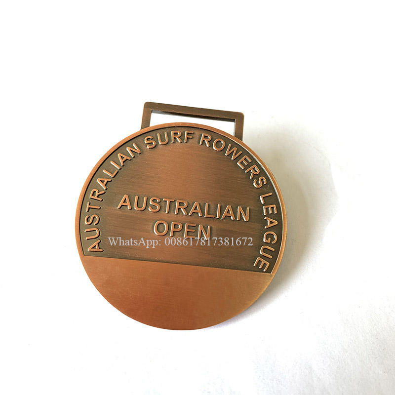 50mm Antik <span class=keywords><strong>Kupfer</strong></span>/Roségold Graviertes Logo Australian Surf Rowers League Award Medaille