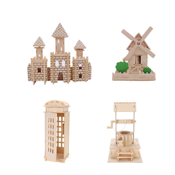 Kids Intelligence Toy Wooden Model Jigsaw Woodcraft Construction Kit DIY Educational Toy Castle Model Building Kit for Adults a