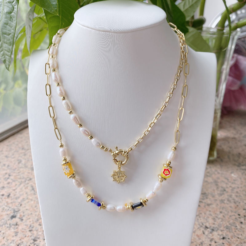 Gold Plated on Brass Handmade Zircon Processing Natural Stone Necklace Pearl String Necklace Natural Pearl String Pendant Necklace