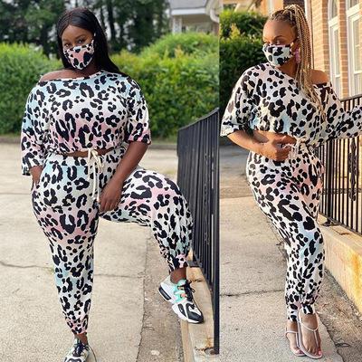 Suor terno de manga longa das mulheres de tamanho grande com estampa de leopardo definir