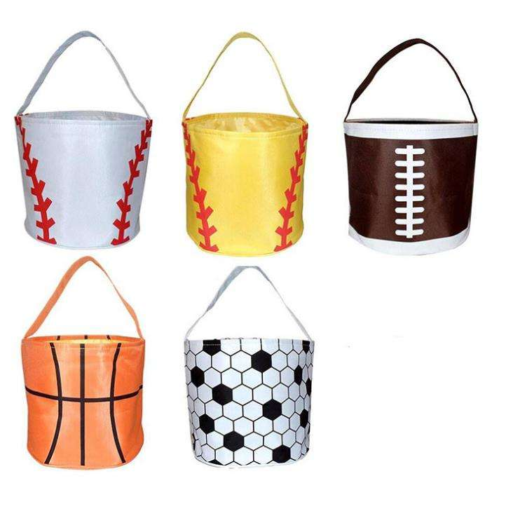 Basketball Easter Basket Sport Canvas Totes Football Baseball Soccer Softball Buckets Storage Bag Kids Candy Handbag