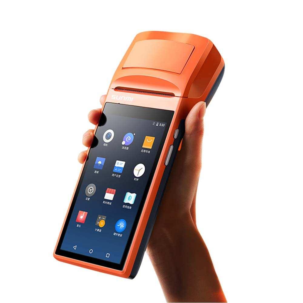 Sunmi V1S portable wifi Android 6.0 paiement mobile d'impression de reçu de bluetooth 5 méga-pixels caméra caisse enregistreuse