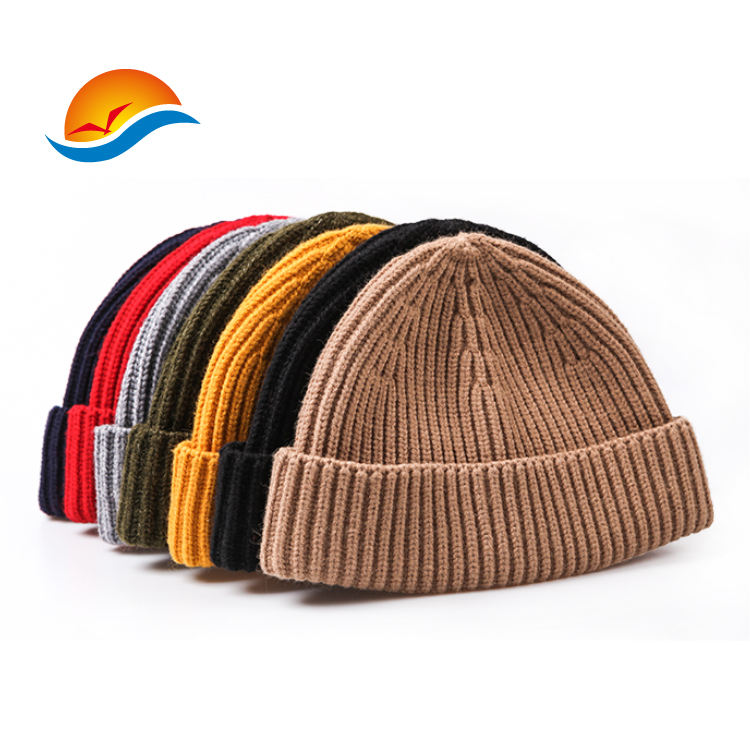 OEM Hot sale custom acrylic solid color blank fisherman beanies for winter