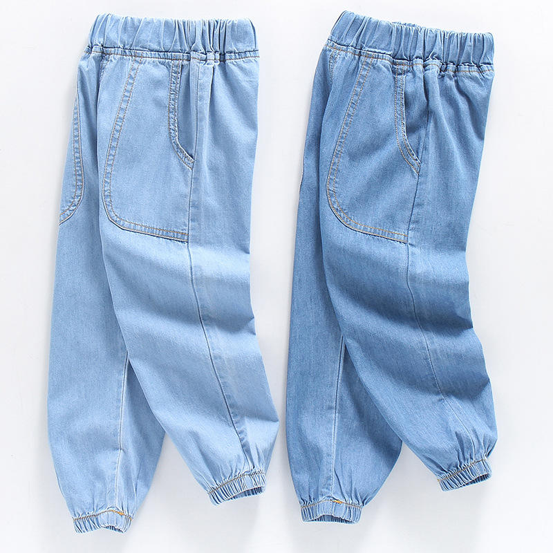 Джинсы детские тонкие с большими карманами, повседневные штаны из денима, однотонные, для мальчиков и девочек, лето