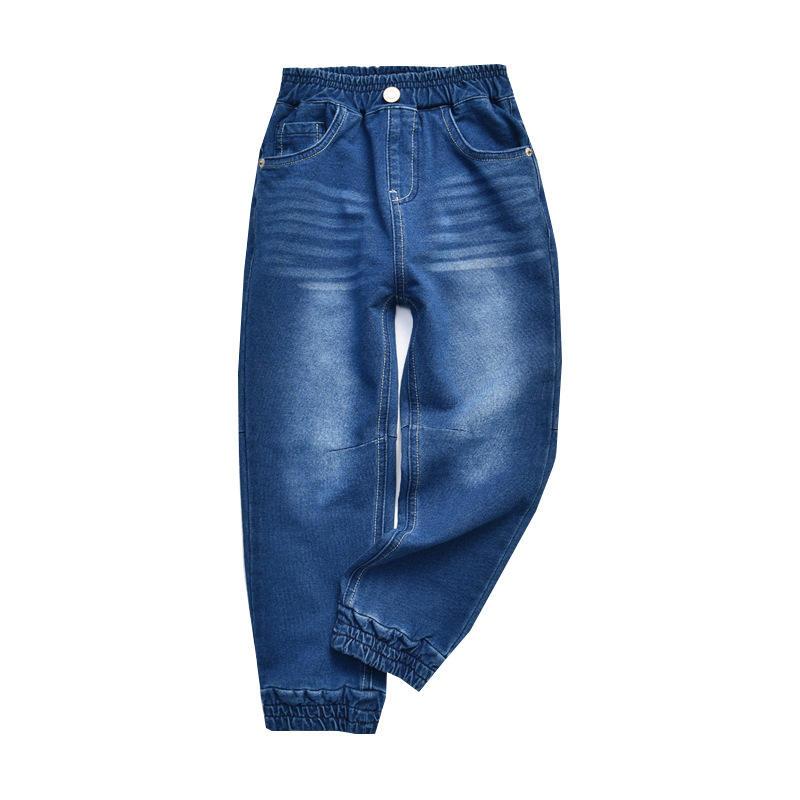 Джинсы на заказ для мальчиков, Стрейчевые брюки из денима с высокой талией для подростков, повседневные штаны для студентов