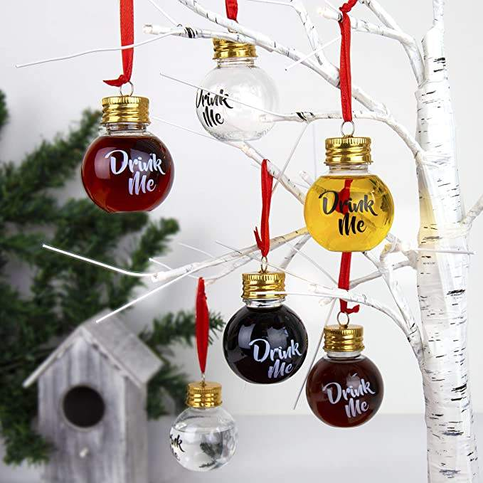 Booze Filled Christmas Tree Ornaments Plastic christmas balls Festive Boozeballs, Medium, CLEAR