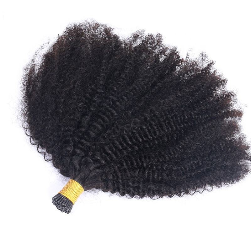 I Tips afro Kinky Curly Micro Links Hair Extensions Wholesale 100% 4B 4C 3B 3C Hair Kinky Curly Raw I Tips Hair