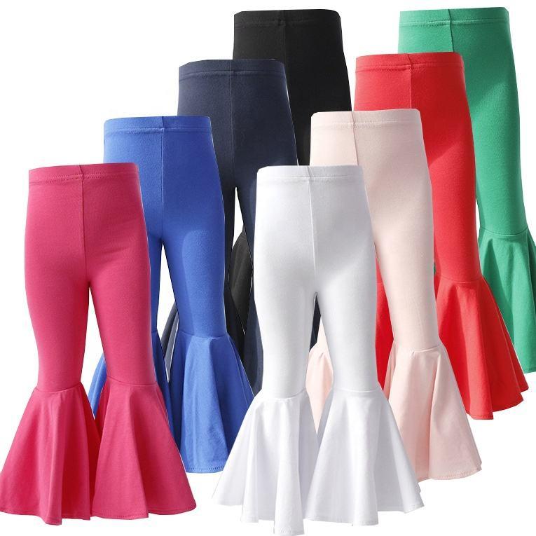 New style fall baby girls pants leggings wholesale kids boutique girls bell bottoms trousers denim girls pants