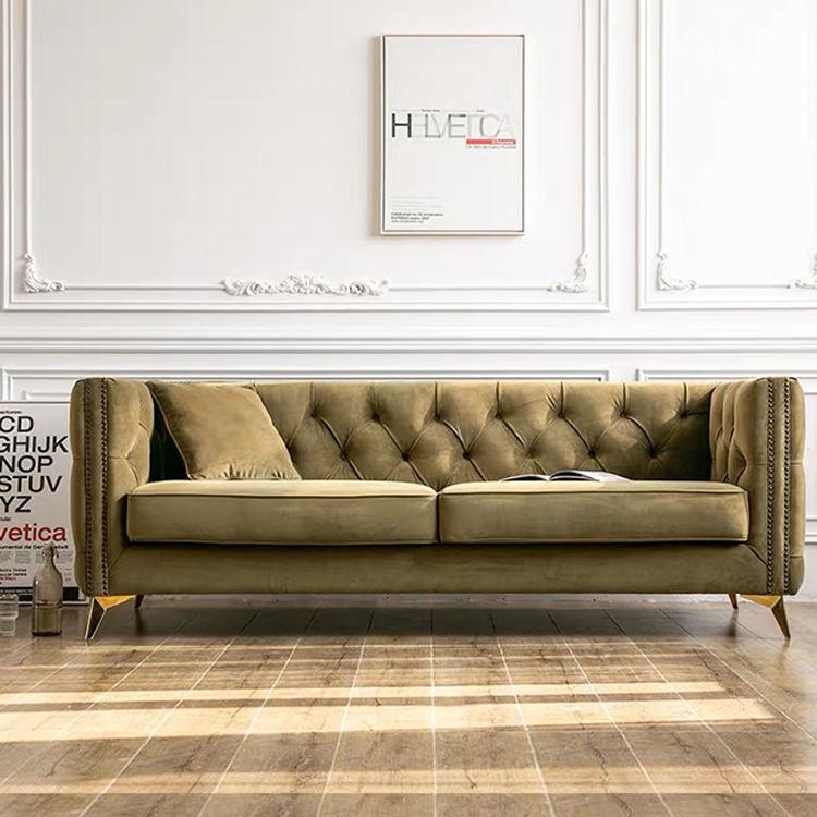 Estilo italiano moderno muebles de oficina multi-funcional de oro rosa sofá de terciopelo conjunto de 2 de 3 plazas para la sala