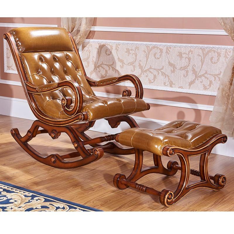 Acento sillas de cuero talla de madera de alta calidad <span class=keywords><strong>silla</strong></span> <span class=keywords><strong>mecedora</strong></span>