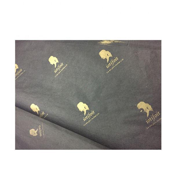 Пользовательские золото фольга тиснения логотип на черный 17gsm ткани бумага/Золотой логотип одежды упаковка бумаги одежда