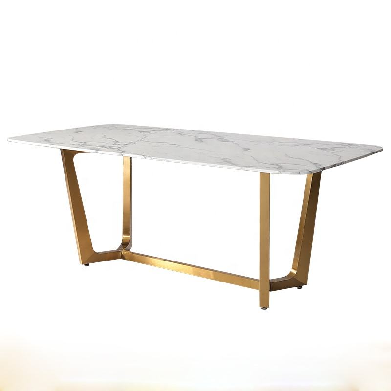 Retangular Marble Top Table Dining Room Table And Chair Set Restaurant Dinner Desk