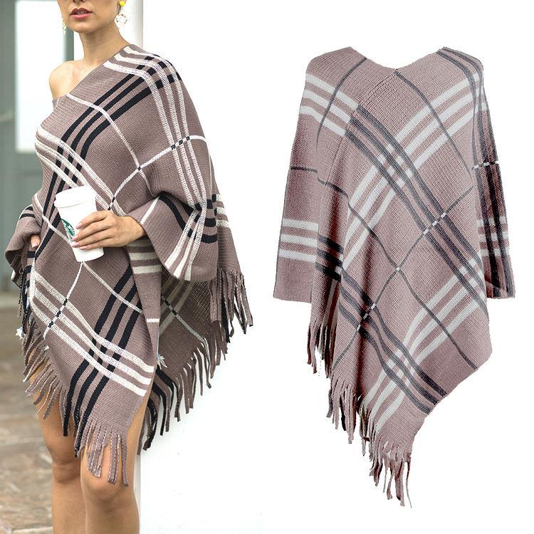 Для женщин новый стиль кисточкой шаль свитер Модные Повседневные платья дамы свободные вязаный свитер