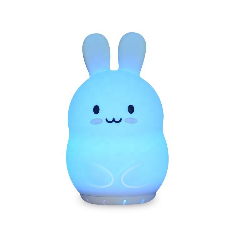 Leitor de Áudio portátil de silicone LEVOU noite luz orador coelho animais sem fio speaker lamp noite com música para o miúdo