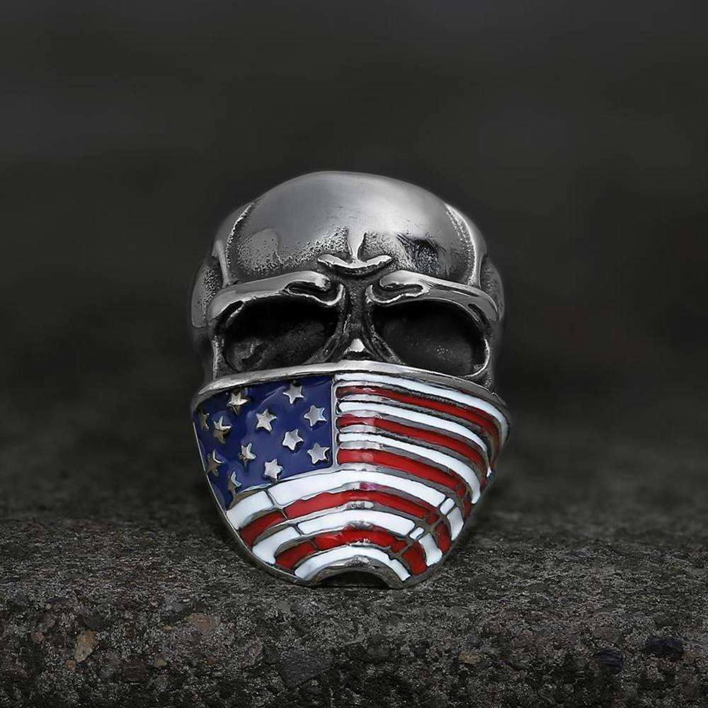Gothic Punk Stijl Amerikaanse <span class=keywords><strong>Vlag</strong></span> Schedel Ring Roestvrij Staal Voor Mannen