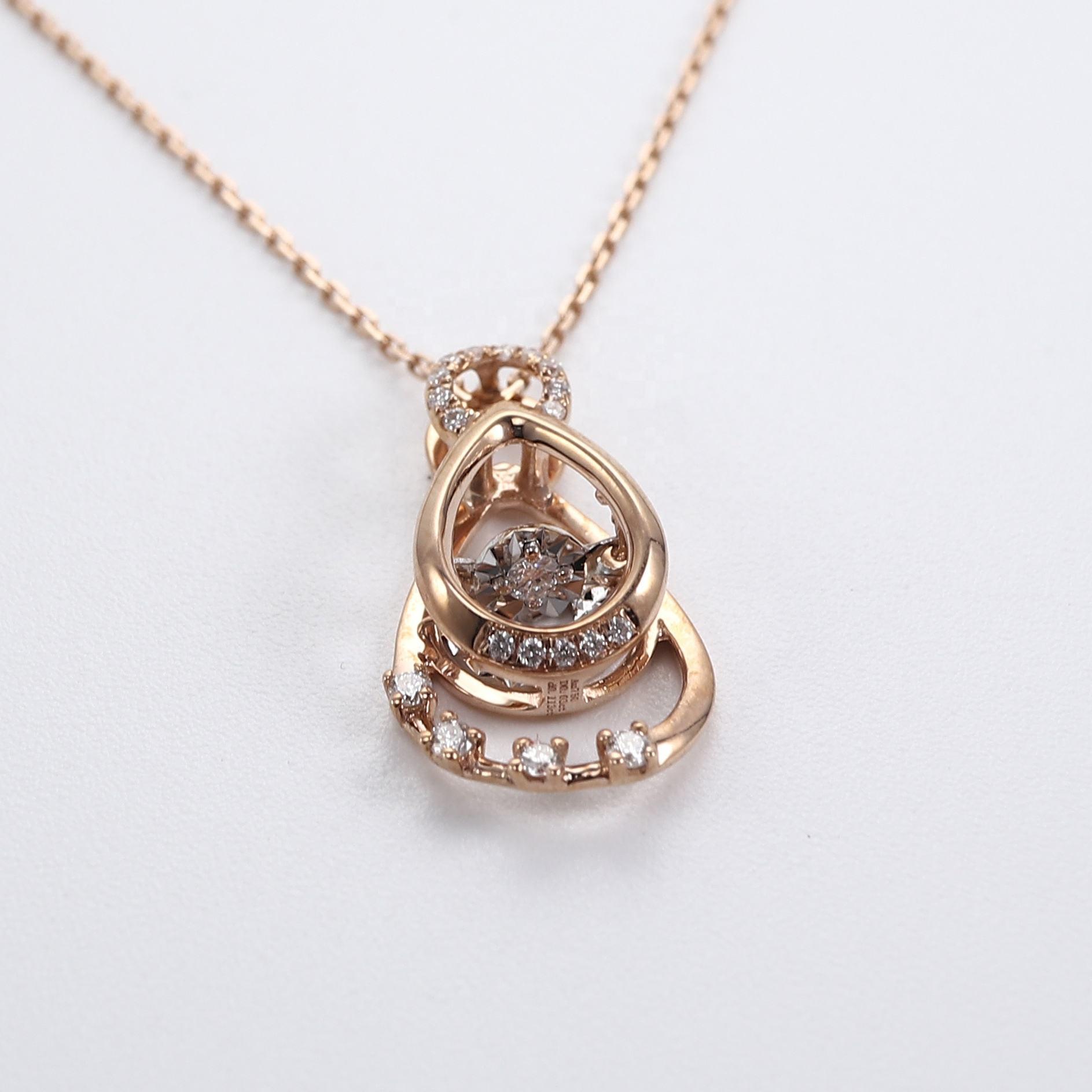 Conception personnalisée Bijoux Fabricant Mobile Bacel Diamant 18k Solide Or Larme Pendentif Lien Chaîne Collier