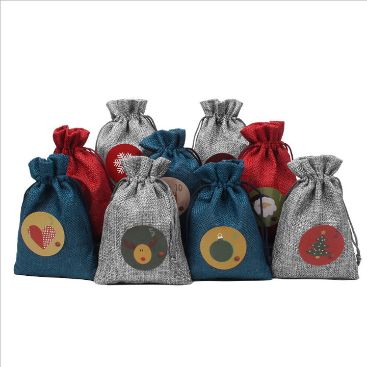 Eco-Friendly Christmas Linen Drawstring Bags Factory Price Burlap Goody Gift Bags With Custom Pattern