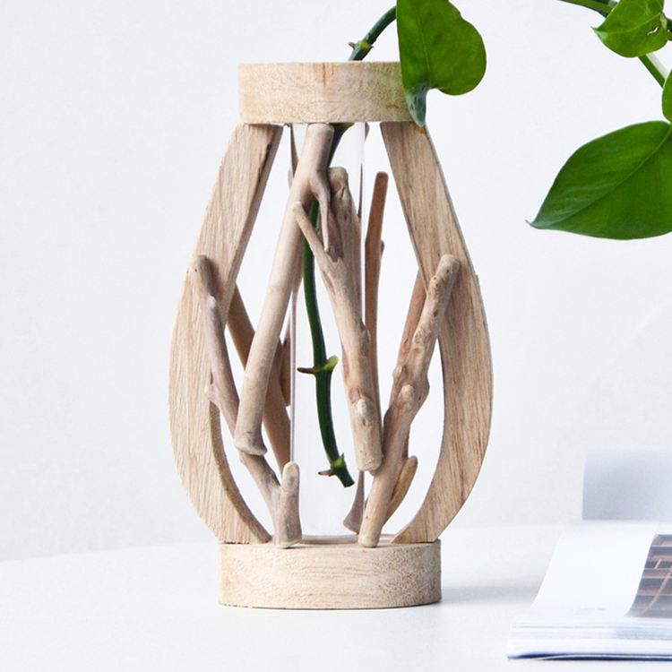 Artesanías de madera casa jardinera con tubo cristal de vidrio de madera y <span class=keywords><strong>fibra</strong></span> vidrio <span class=keywords><strong>florero</strong></span> de <span class=keywords><strong>florero</strong></span> decoración en madera