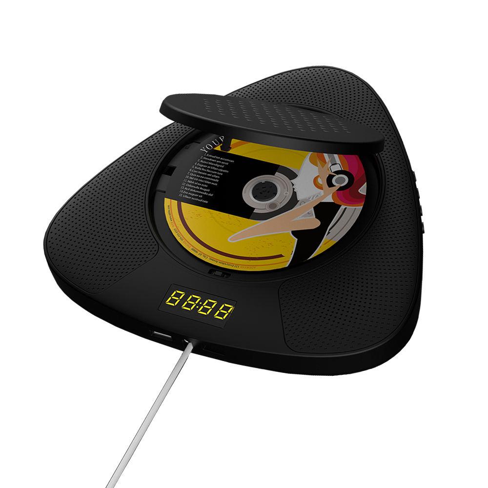 2020 جديد أسود MP3 DJ دي في دي TF مكبر صوت مزود ببطاقة FM راديو بساعة منبه BT الناتج اتصال USB المحمولة مشغل أقراص مضغوطة