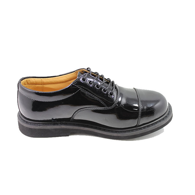Patent leather men high gloss military dressing shoes
