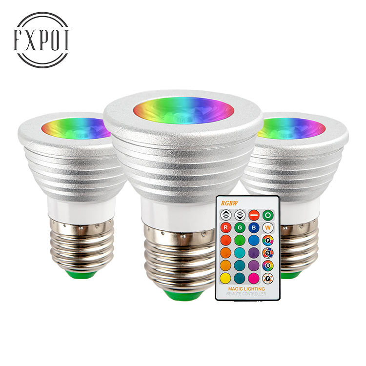 Dimmable remote control E26 E27 B22 E14 GU10 GU5.3 holder 5W RGB bulb led spot light