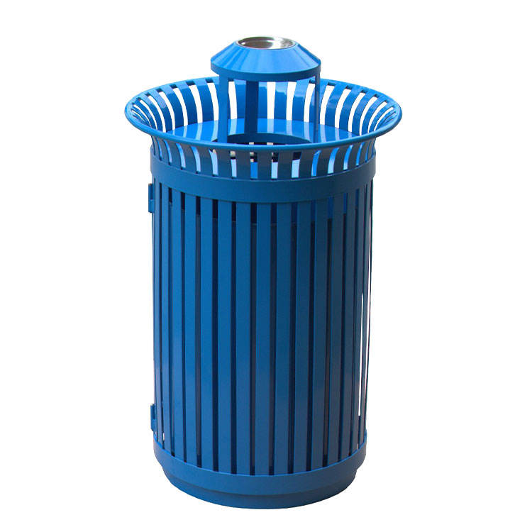 wholesale public street blue round metal iron eco outdoor ashtray waste bin garbage trash can price