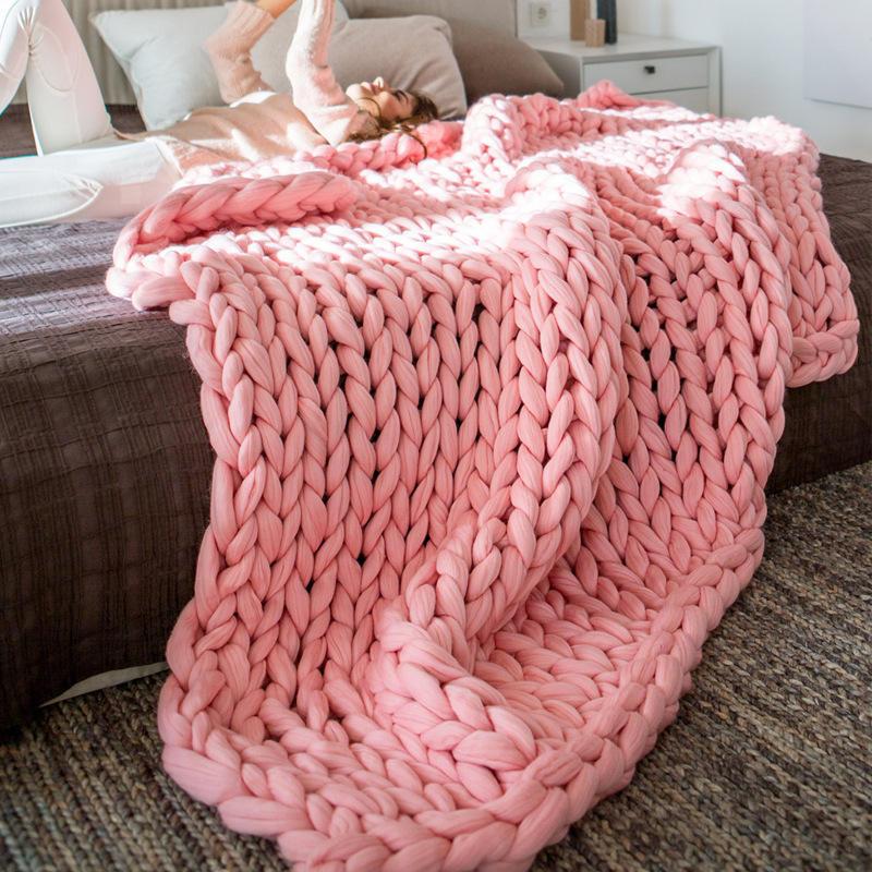 Домашняя плотная пряжа, шерстяное вязаное одеяло для дивана и кровати, ручное трикотажное одеяло