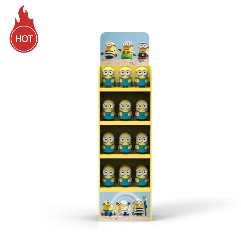 عينات مجانية صافي الأحمر لعب المنتج منصة عرض أرضية الكرتون المموج الأصفر الصغير رجل اللعب أرضية ورق عرض موقف