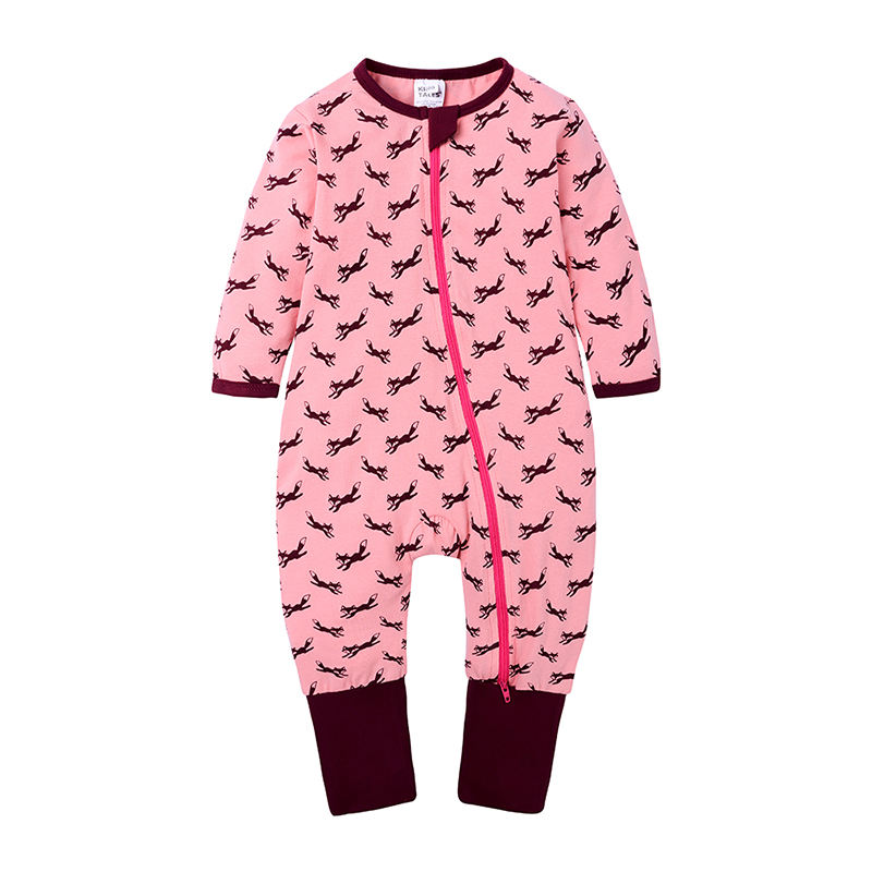 China wholesale custom plain zipper baby clothes fox print rompers for baby girls