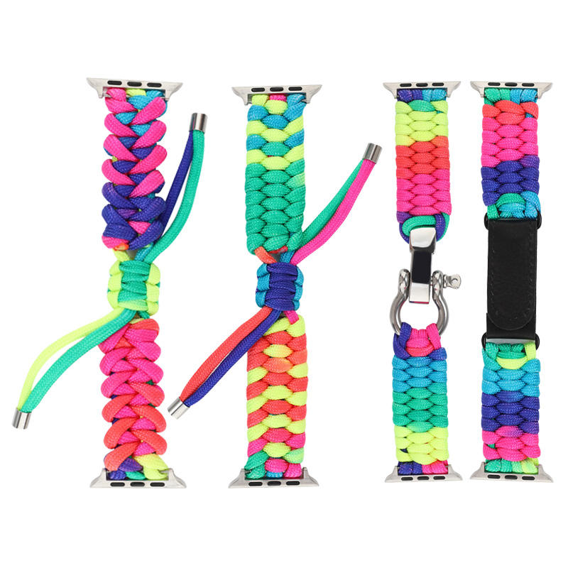 Chinber 레인보우 컬러 생존 <span class=keywords><strong>Paracord</strong></span> 시계 <span class=keywords><strong>스트랩</strong></span> 손목 밴드 애플