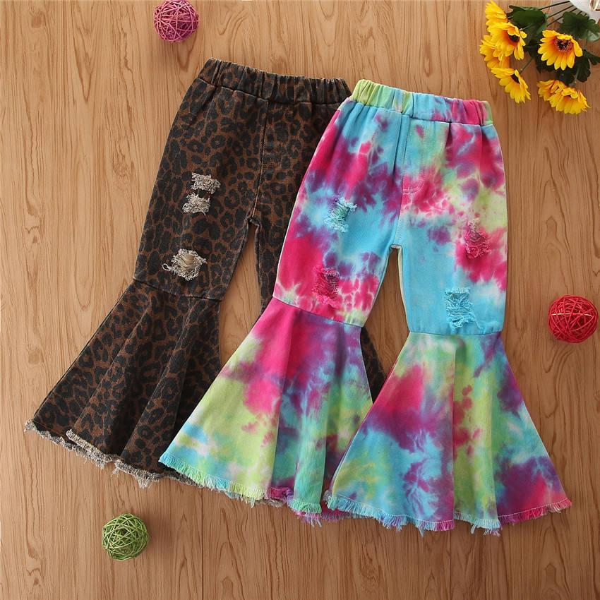 ковбойские штаны, Осенние расклешенные леопардовые штаны для девочек, цветные джинсовые брюки для маленьких девочек