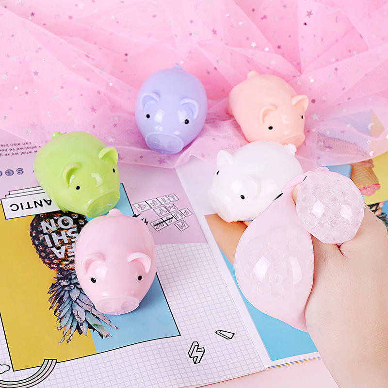 Promotional custom novelty cute anti stress toy small pig shape multicolor squeeze TPR toy oem