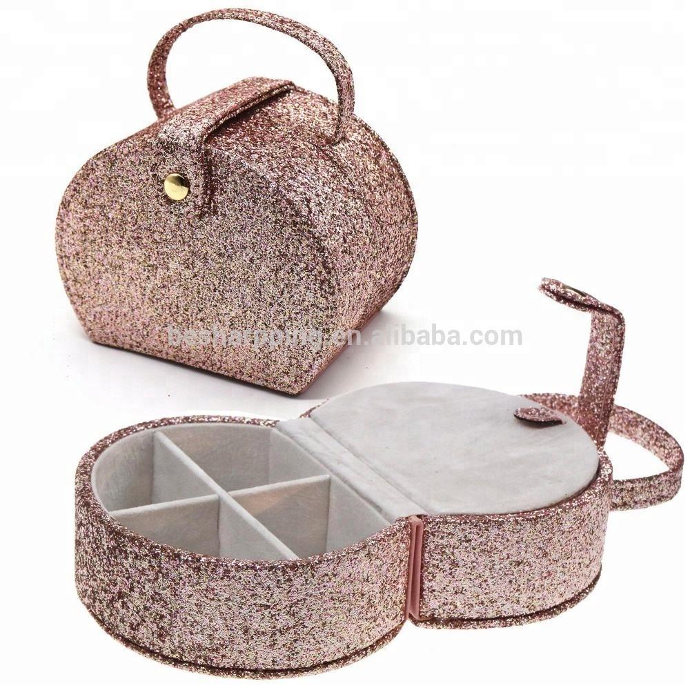 De Viaje pequeña caja de la baratija pendientes anillos caso organizador PU cuero caja de joyería
