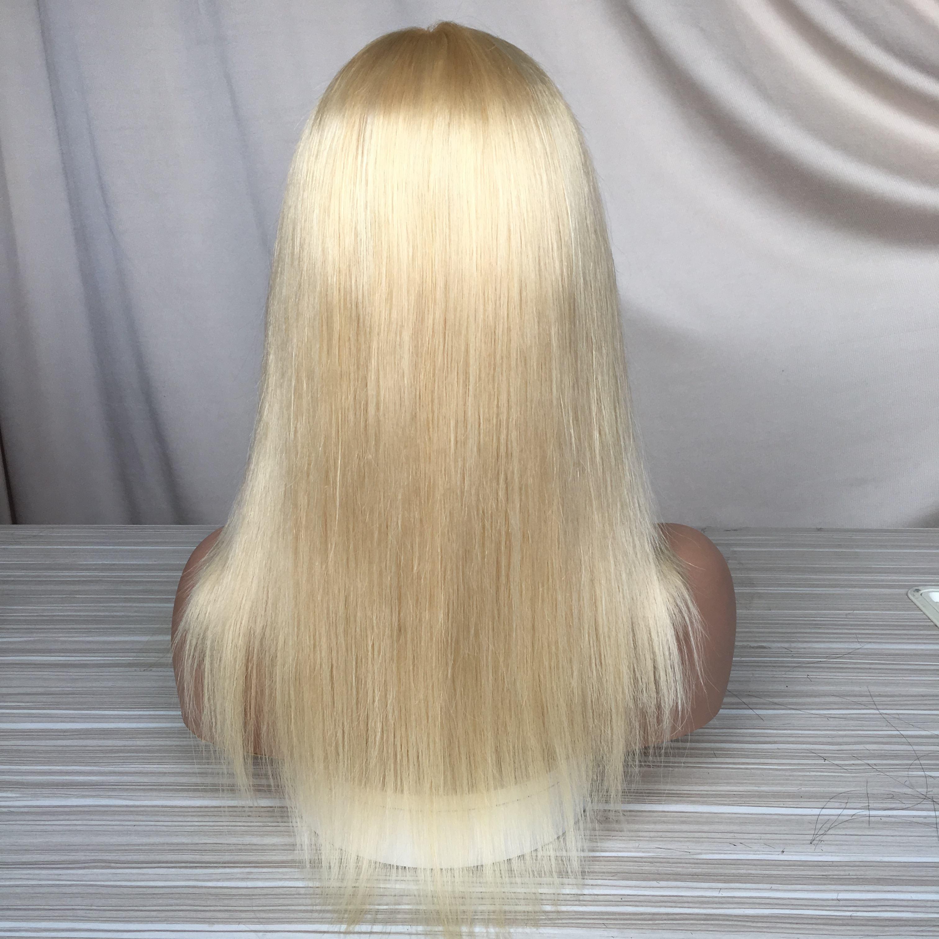 100% virgen cabello humano 613 cabello rubio recto 13x6 Peluca de encaje frontal para el cabello brasileño