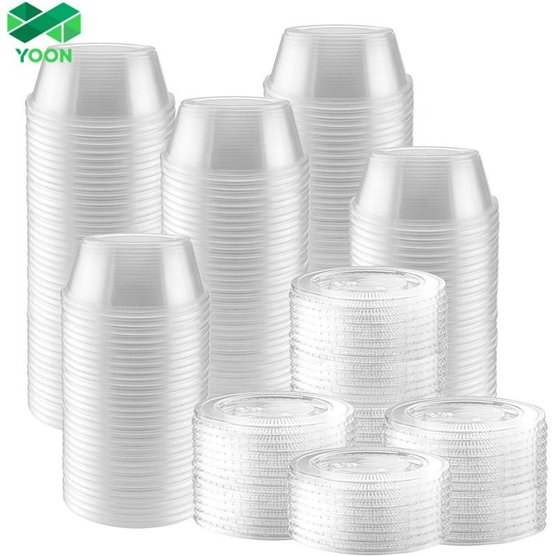 Plastic Disposable Mini Portion Cups with Lids Souffle Cups Jello Cups Dipping Sauce And Salad Dressing Container