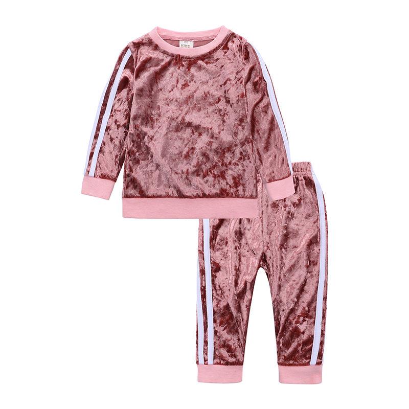 جديد الوردي 2 قطعة مجموعة ملابس <span class=keywords><strong>بوتيك</strong></span> للأطفال الخريف طفلة القطيفة رياضية