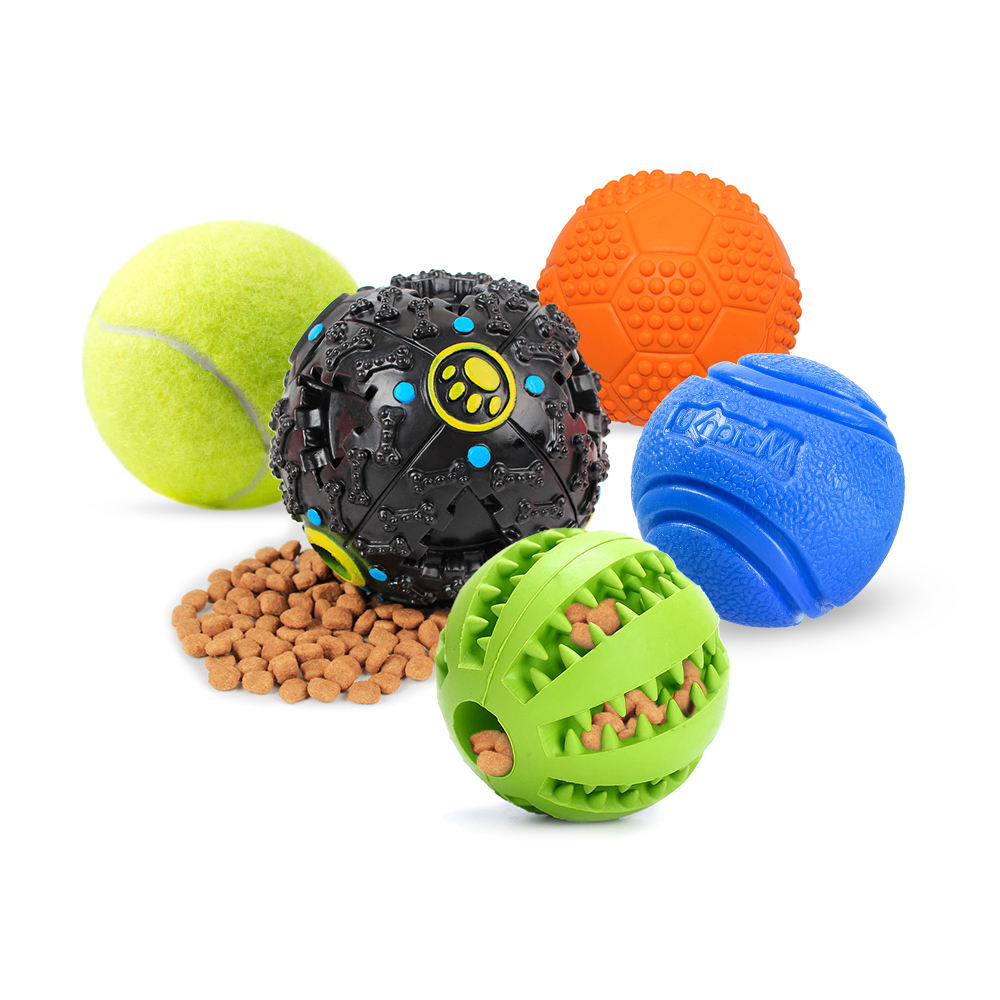 Kinyu Ineractive Durable Squeaky Training Tennis Ball Rubber Chew Toy Ball Treat Feeder Dog Ball