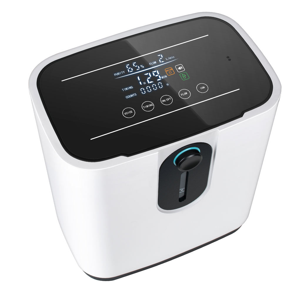 Portable Oxygen Concentrator 1-7L/min Adjustable Oxygen Machine Intelligent Voice Touch Screen Humidifiers With Anion Function F