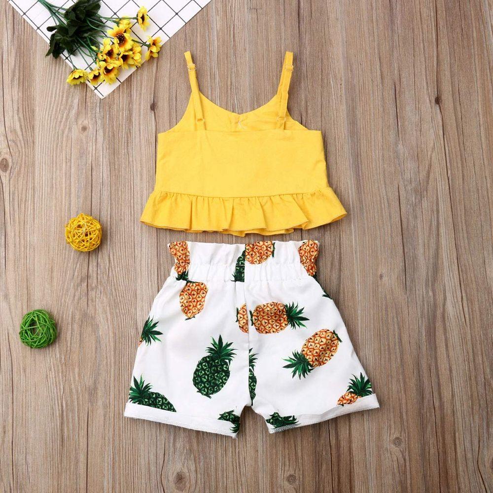 2019 летние шорты комплекты для маленьких девочек желтый Растениеводство Топ и цветок белые шорты бутик одежды
