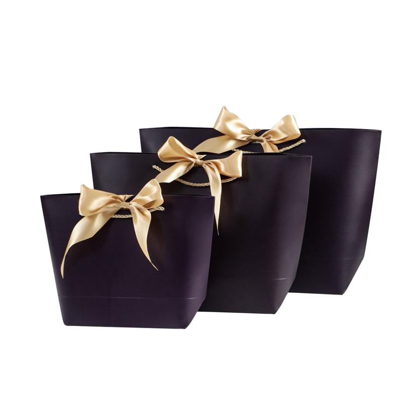 Flor logotipo personalizado bolsas de papel pequeña bolsa de compras de papel con cinta
