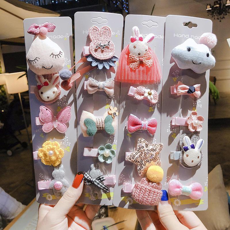 Corea lindo accesorios de pelo de los niños horquilla conjunto de dibujos animados bebé clip horquilla tocado de novia
