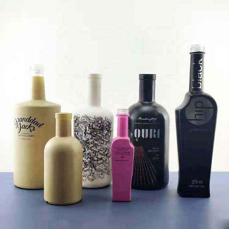 Alcohol Glass Bottle Wholesale Custom 500ml 700ml 75cl Frosted Luxury Round Empty Clear Vodka Whiskey Liquor Spirit Alcohol Shape Glass Bottles 750ml