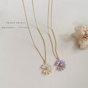 Collier marguerite en or véritable plaqué 14K, style coréen, chaîne, pull  pour fille, bijoux ras du cou