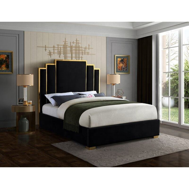 Royal Bedroom Set Upholstered Storage Queen King Size Plywood Bed Frame