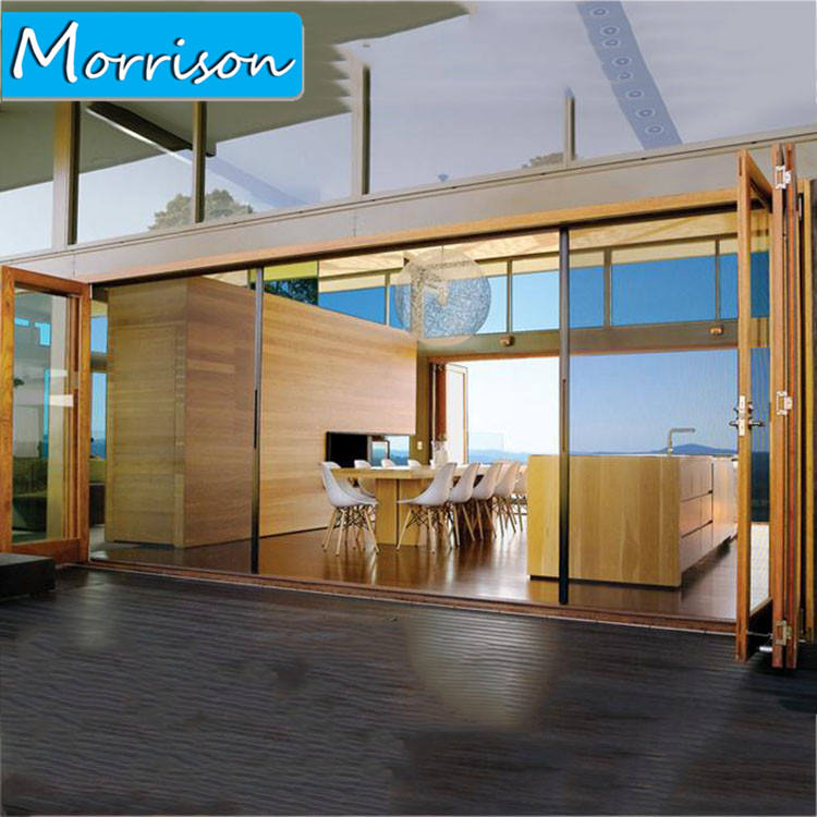Nuevo diseño directamente del fabricante de alimentación exterior moderna plegado vidrio de aluminio puerta bi Doble