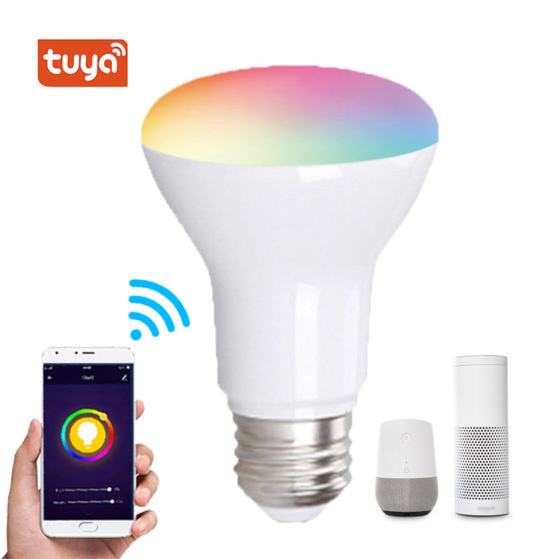 tuya smart led light bulb br30 E27 E26 B22 E12 E14 E17 base compatible with alexa and google home
