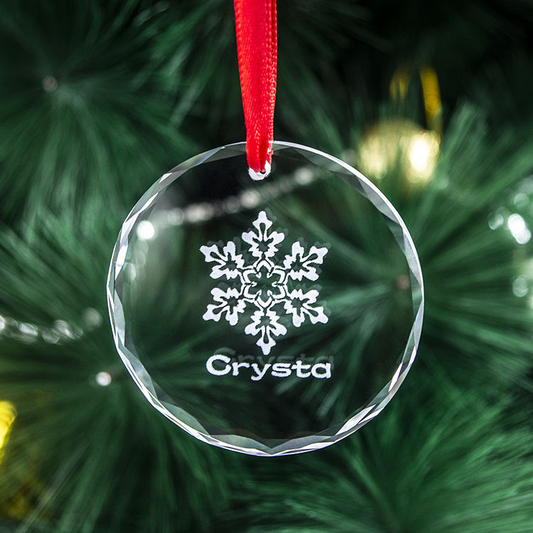 Personalized Crystal Snowflake Christmas Ornament custom clear Crystal Glass christmas tree hanging decoration ornaments