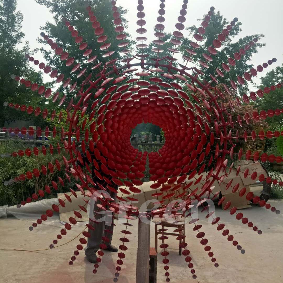 정원 현대 추상 아트 공압 동상 스테인레스 스틸 불꽃 키네틱 조각 판매